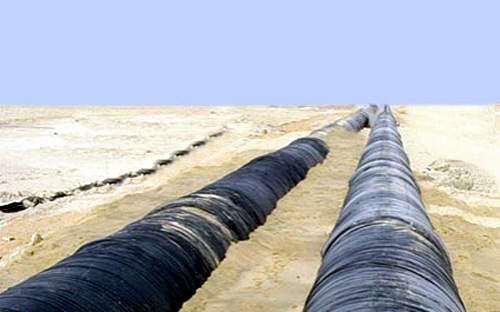 A section of the twin transmission line during construction. It runs 250km from the Shuweihat desalination plant to Musaffah in Abu Dhabi and has been laid above the natural ground-level for most of the route