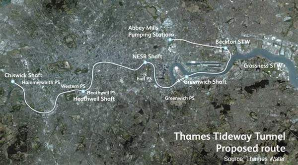 Proposed route of the Tideway Tunnel – a storage-and-transfer tunnel nearly 35km long lying 60m below the city for most of its route.
