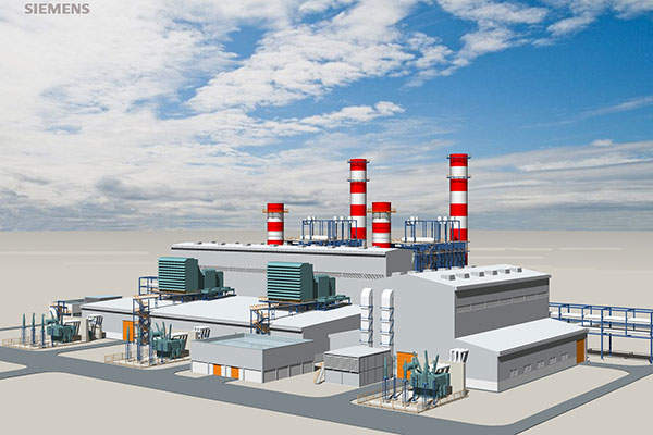 A rendition of the combined cycle power plant that will provide the energy required to heat the tubes within the distiller unit's brine heaters of the MSF plant. Siemens press picture.