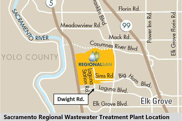 The water treatment plant  serves more than 1.4 million people in the cities of Sacramento, West Sacramento, Rancho Cordova, Citrus Heights, Elk Grove and Folsom. Image courtesy of Regional San.