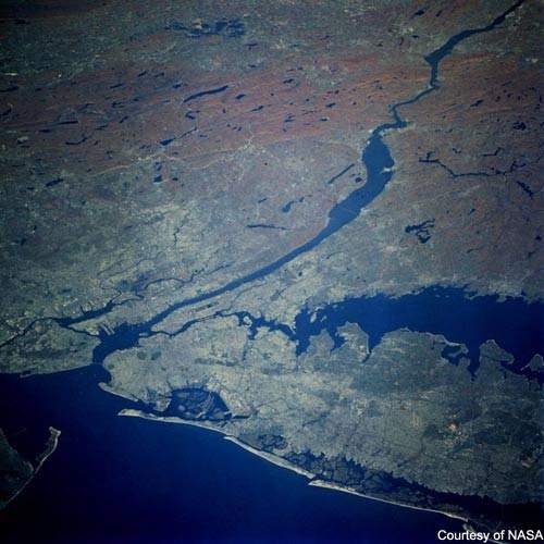 New York and the Hudson River from space. New York receives water from two geographically discrete sources – the Catskill / Delaware watershed, to the west of the Hudson river and the Croton to the east.