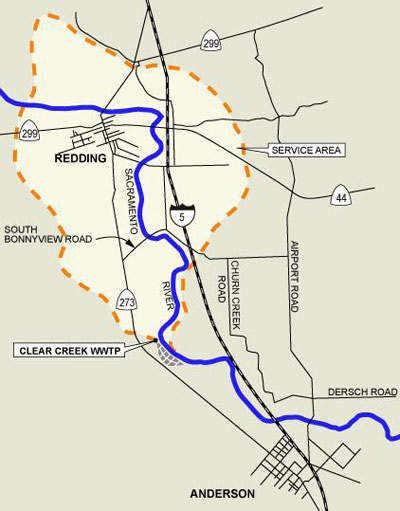 Simplified map showing the location and service area of the plant.
