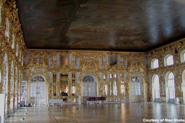 The ballroom of the Catherine Place; St Petersburg is home to many of Russia's priceless cultural treasures.