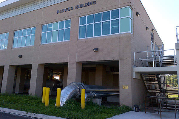 The construction of the new air blower building is also completed as of June 2013. Image courtesy of Region of Waterloo.