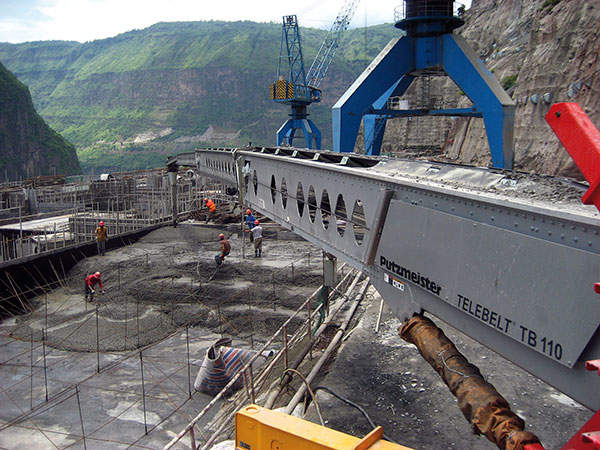 The construction site of Xiluodu Dam. Image courtesy of Putzmeister.