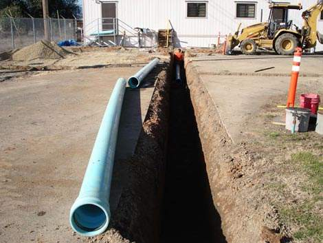 The new eight-inch water pipe being installed. Phase two will also see the installation of a tie-in to the city's potable water supply and a new outfall is scheduled for construction as part of phase four.