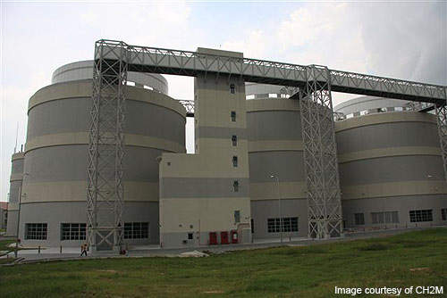 The Changi Water Reclamation Plant is built partially underground and stacked for maximum compactness and land use.