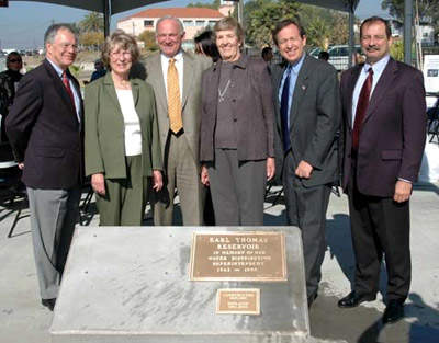 The new Earl Thomas reservoir was dedicated in December 2005. The San Diego Mayor, councillors, community members, contractors and city staff attended the event, which also unveiled the new parking lot for Lake Murray visitors.