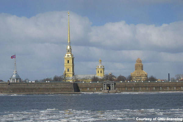 The golden spire of the Peter and Paul Cathedral seen from the Neva river; a significant portion of the city lies less than four metres above sea level.