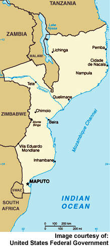 Map of Mozambique. In common with many countries in the region, regular access to good quality drinking water and sanitation has been poor and public health has suffered.