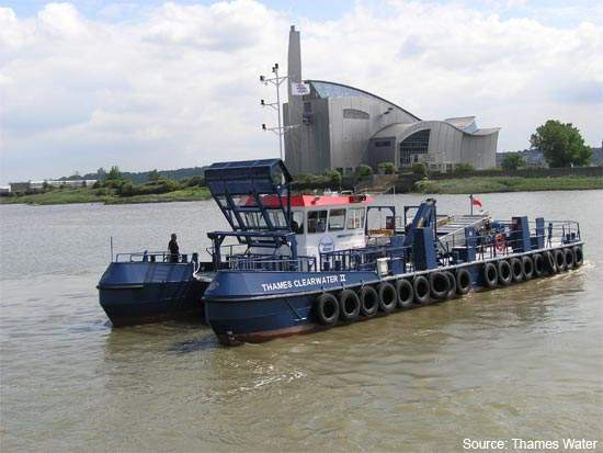 The Clearwater II opposite Crossness – one of the skimmer boats used to remove floating litter from the river after heavy storms.