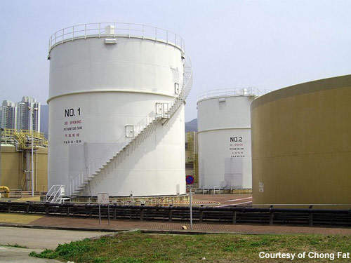 The plant's methane gas tanks: biogas from sludge digestion provides power for the plant and hot water to maintain digester temperature.