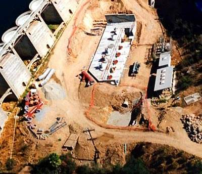 Aerial view during Phase 1 construction; the Lake Murray raw water pump station underwent a complete re-build.