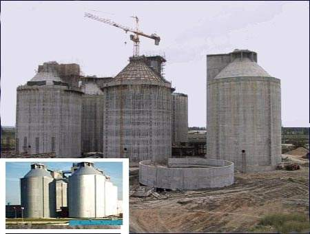 The anaerobic digesters under construction, with an inset of the finished facility; derived biogas makes a significant contribution to the operating energy requirement.