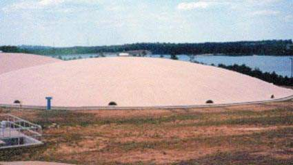 The finished water is stored in a number of domed clearwells on the 1,200ha site.