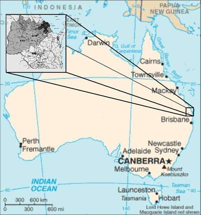 Map showing the location of the Burnett Catchment area within Queensland.