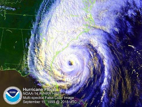 Satellite view of Hurricane Floyd on the night of 15 September 1999. The following night its flood waters struck the Canal Road plant, causing considerable damage.