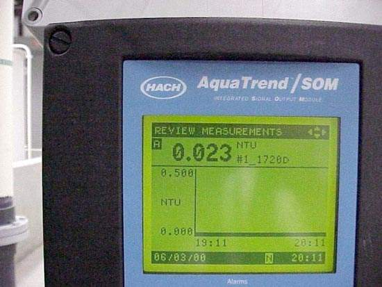 The filtration units have sophisticated instrumentation. The picture shows an Aquatrend display unit.
