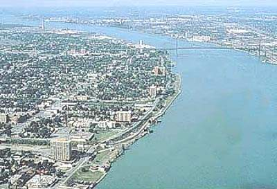 Aerial photograph showing Detroit and Detroit River. Many of the developments at the plant over the years have been designed to safeguard this waterway.