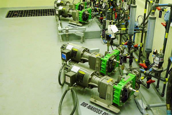 verderflex smart peristaltic pump range, dosing sodium hypochlorite, wastewater treatment plant