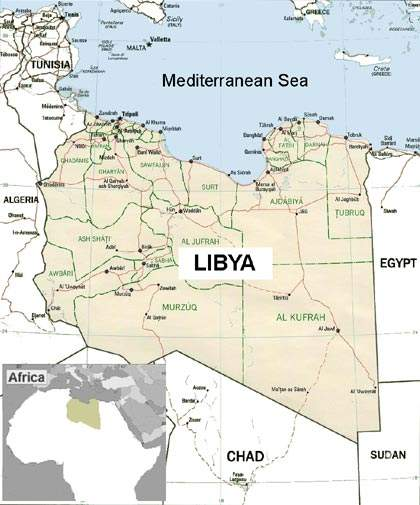 Map of Libya. The GMR project draws water from aquifers beneath the Sahara and conveys it along a network of huge underground pipes to the coastal belt.