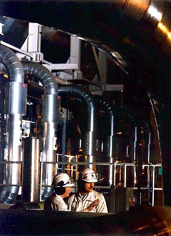 The boiler tubes; the new plant helps to protect the power station boilers by excluding organic matter and silica, which also extends the useful life of the anion resins used in the condensate polishing process.