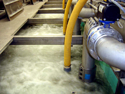 One of the membrane tanks being aerated. Membrane cleaning takes place by a combination of tank aeration at ten-second intervals and a 30-second back-wash occurring every 15 minutes.