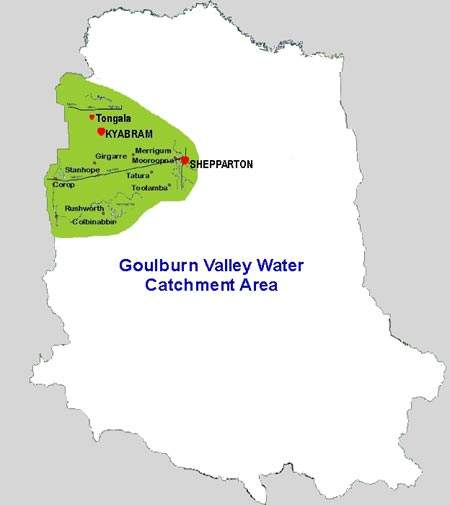 Location map of the Goulburn Valley Water catchment area, highlighting the western zone of GBW's Central District, where these works took place.