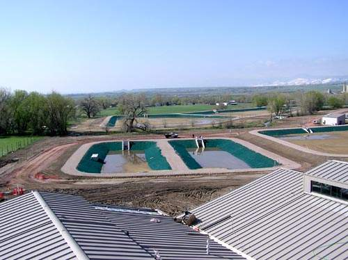 View over the residual ponds; the new WTP site extends to over 120 acres.