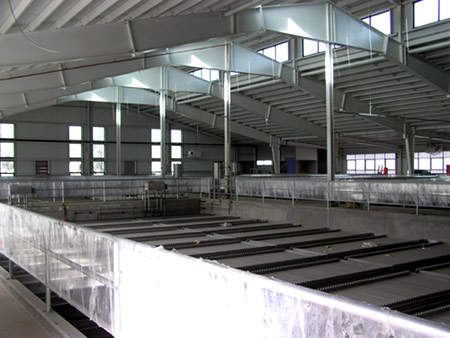 View inside the new main building. The design of the treatment plant itself is conventional, using flocculation / sedimentation, dual medium filtration and chemical disinfection.