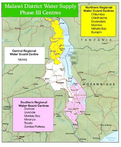 The water supply project is a country-wide scheme, involving all of Malawi's regional water boards. The Central region has one centre, the Southern and Northern regions each have six.