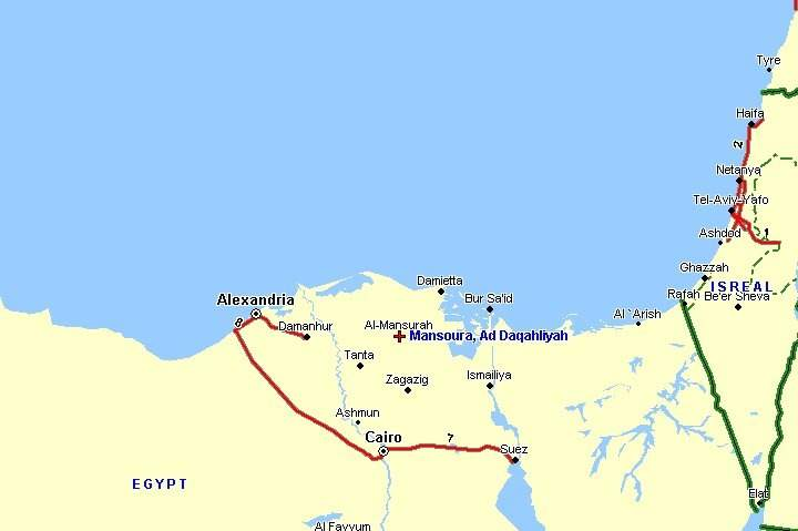 Map showing the location of Mansoura (Ad Daqahliyah) in Egypt.
