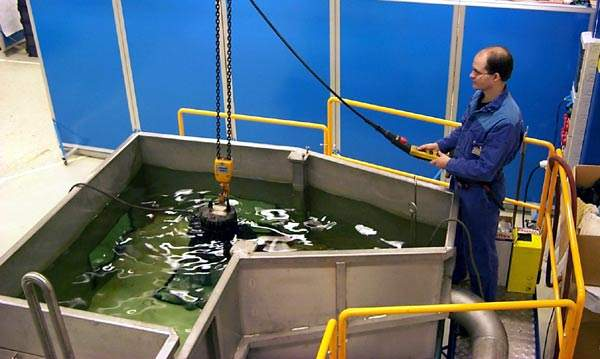 One of ITT Flygt's N-pumps undergoing factory testing. The Oakenhead Wood plant has a total of 13 N-pumps of various sizes; the Buckie and Macduff facilities have a further 11 between them.