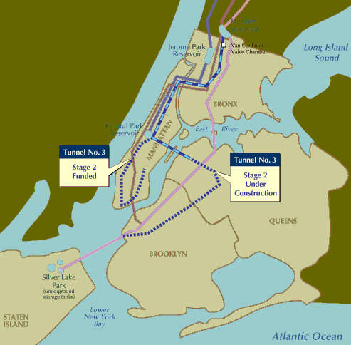 Stage two will provide water to the lower west side of Manhattan and sections of Queens, Brooklyn and Staten Island.