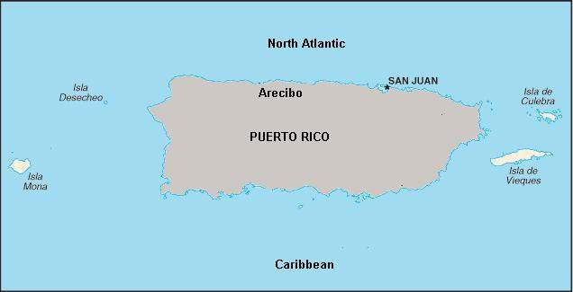 Map of Puerto Rico, showing Arecibo and San Juan. Finished water is pumped nearly 60km from Arecibo to San Juan, along the project's superaqueduct.