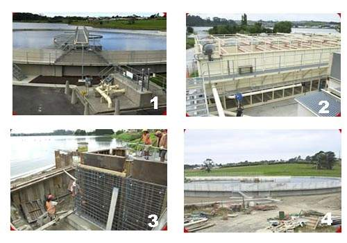 A series of site views. One of the clarifiers (1); DAF tanks (2); construction of the UV disinfection facility (3) and the fourth clarifier (4) in 2003.