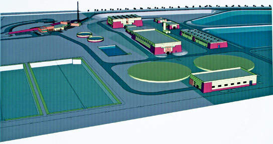 Computer image of the new WTP; scheduled for completion in early 2008, it will have a capacity of 350,000m³/d.