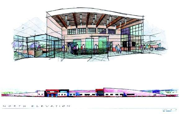 Architectural renderings of the front and north elevations of the new plant.