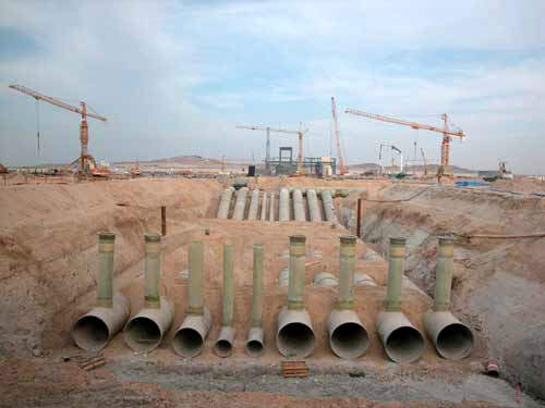 The start of the pipeline at the Shuweihat Desalination plant.