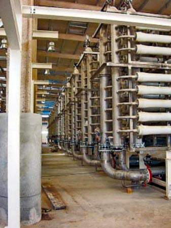 Some of the plant's membrane elements in situ; Sulaibiya is the largest facility in the world to use reverse osmosis / ultrafiltration membrane-based water purification.