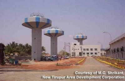 The new water plant: built to a conventional design, it has a capacity of 185 million litres per day. (Photograph courtesy of M.C. Shrikant, New Tirupur Area Development Corporation)