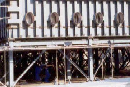 One of the MSF evaporators. Special resistant coatings and alloys were used extensively to avoid scaling and accelerated corrosion.