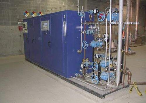 The plant's ozone machine generates the ozone required for disinfection, which is then bubbled through the water. Residual ozone is converted back to oxygen gas and released to the atmosphere.