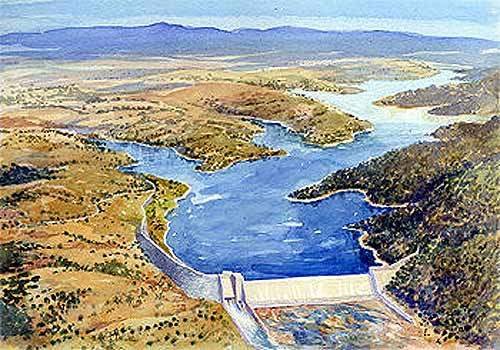 Artist's impression of the proposed Burnett River Dam.