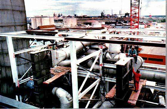 Construction of the Detroit wastewater treatment plant.