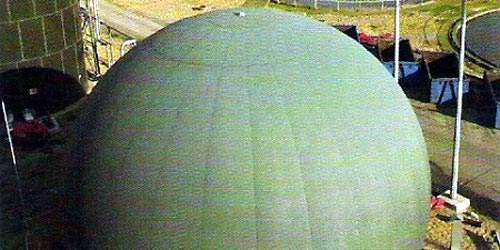 The gas recycling system; biogas produced during digestion is reused onsite to heat the digesters themselves to their operational temperature and to fuel the drier.