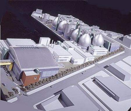 A computer image of part of the completed Newton Creek plant. The expansion involves building a series of new grit, aeration and sedimentation tanks and major remodeling of the existing facilities.