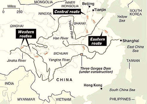 A map of China's South-to-North Water Diversion mega-project.