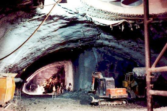 The underground cavern at the bottom of the vertical shaft.