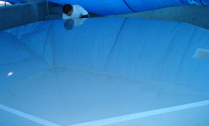 Chemical resistant coating applied to the ferric chloride foundation within the new chemical facility